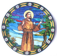 St. Francis of Assisi Stained Glass Suncatcher Sticker Window Cling