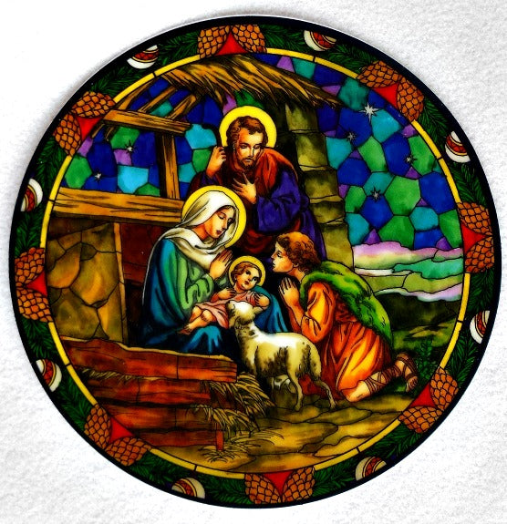 Nativity Stained Glass Suncatcher Sticker Window Cling