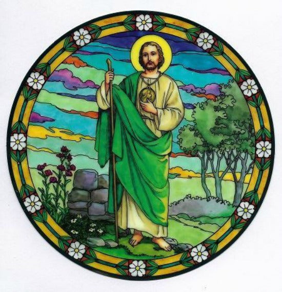 St. Jude Stained Glass Suncatcher Sticker Window Cling