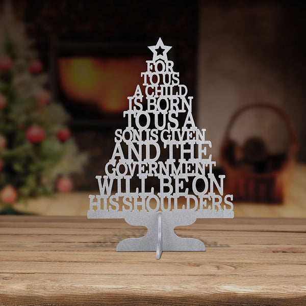 "A Child is Born 11"" Wood Cutout Christmas Tree F4310"
