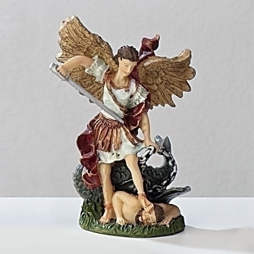 "St. Michael the Archangel 3.5"" Statue with Prayer Card & Biography"