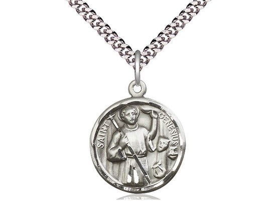 Sterling Silver St. Genesius Round Patron Medal Necklace Bliss 5427