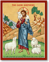 Jesus Good Shepherd Icon 8x10 Wooden Plaque by Monastery Icons Made USA 570LG