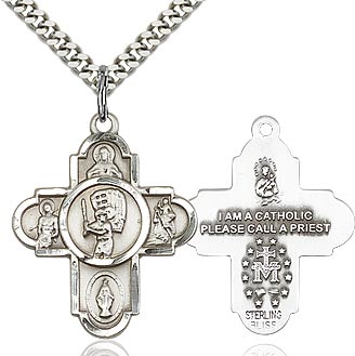 Sterling Silver 5 Way Baseball Cross Pendant Necklace - St. Sebastian Patron of Athletes