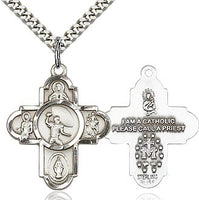 Sterling Silver 5 Way Football Cross Pendant Necklace - St. Sebastian Patron of Athletes