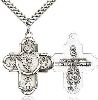 Sterling Silver 5 Way Basketball Cross Pendant Necklace - St. Sebastian Patron of Athletes