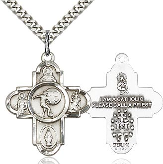 Sterling Silver 5 Way Soccer Cross Pendant Necklace - St. Sebastian Patron of Athletes