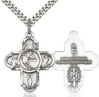 Sterling Silver 5 Way Ice Hockey Cross Pendant Necklace - St. Sebastian Patron of Athletes
