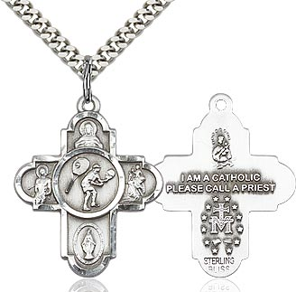 Sterling Silver 5 Way Tennis Cross Pendant Necklace - St. Sebastian Patron of Athletes