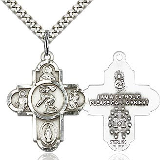 Sterling Silver 5 Way Swimming Cross Pendant Necklace - St. Sebastian Patron of Athletes