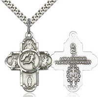Sterling Silver 5 Way Track & Field Cross Pendant Necklace - St. Sebastian Patron of Athletes