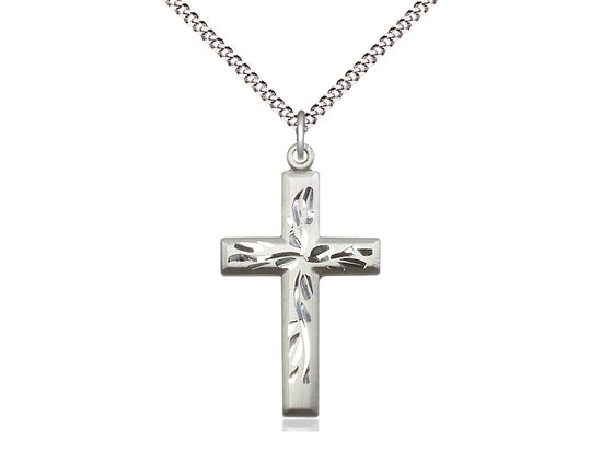 "Etched Sterling Silver Cross Pendant on  18"" Chain"