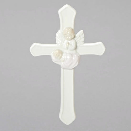 Baby Girl Pink Guardian Angel Wall Cross by Roman