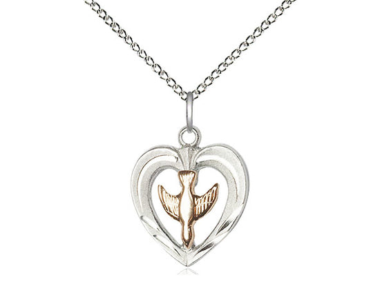 "2-Tone Sterling Silver Heart & Holy Spirit Pendant on 18"" Chain by Bliss 6280"