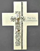 "First Communion Wall Cross 7.5"" W/ Silver Chalice"