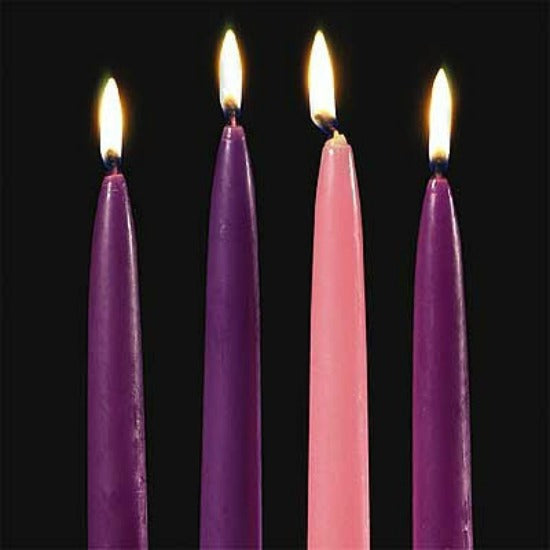 "10"" Taper Advent Candle Set - 3 Purple 1 Pink by Abbey Press"