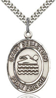 Sterling Silver St. Sebastian Swimming Sports Oval Medal by Bliss Patron of Athletes