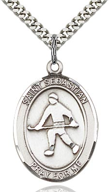 Sterling Silver St. Sebastian Field Hockey Sports Oval Medal by Bliss Patron of Athletes