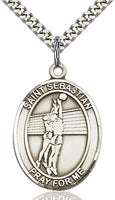 Sterling Silver St. Sebastian Volleyball Sports Oval Medal by Bliss Patron of Athletes