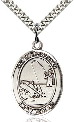 Sterling Silver St. Sebastian Fishing Sports Oval Medal by Bliss Patron of Athletes