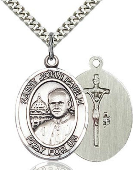 "St. John Paul II Sterling Silver Patron Medal 24"" Chain Necklace for MALE Bliss 7234"