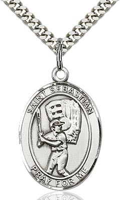 Sterling Silver St. Sebastian Baseball Sports Oval Medal by Bliss Patron of Athletes