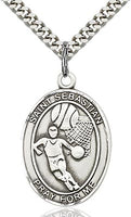 Sterling Silver St. Sebastian Basketball Sports Oval Medal by Bliss Patron of Athletes