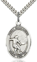 Sterling Silver St. Sebastian Soccer Sports Oval Medal by Bliss Patron of Athletes