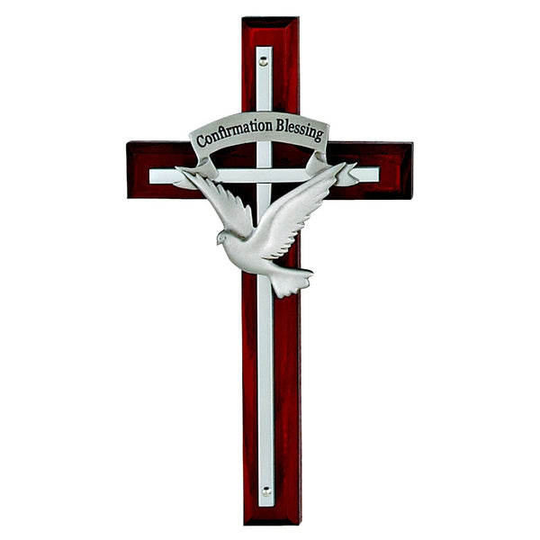 Confirmation Wood & Metal Wall Cross With Dove - Made in USA McVan