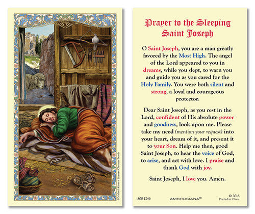 Prayer to the Sleeping St. Joseph Laminated Card