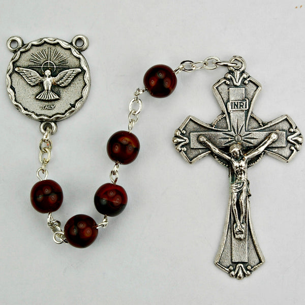 7mm Red/Black Beaded Holy Spirit Confirmation Rosary McVan 833R