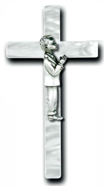 "7"" Pewter Communion Boy on Pearlized Wall Cross - First Communion Hirten 83B-7WP"