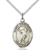 Sterling Silver St. Sebastian Lacrosse Sports Oval Medal by Bliss Patron of Athletes