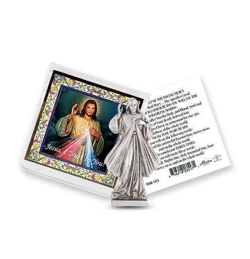 Pocket Size Divine Mercy Metal Statue & Prayer Card