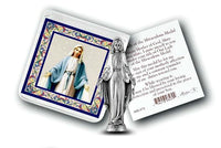 Pocket Size Our Lady of Grace Metal Statue & Prayer Card