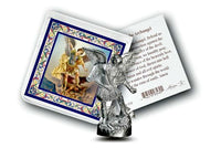 Pocket Size St. Michael the Archangel Metal Statue & Prayer Card