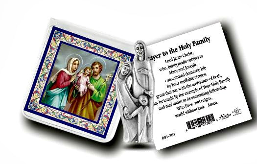 Pocket Size Holy Family Metal Statue & Prayer Card