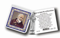 Pocket Size St. Padre Pio Metal Statue & Prayer Card