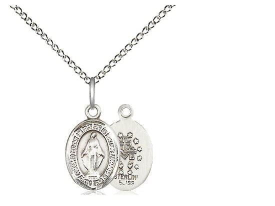 "Bliss Sterling Silver Small Miraculous Medal on 18"" Inch Chain"