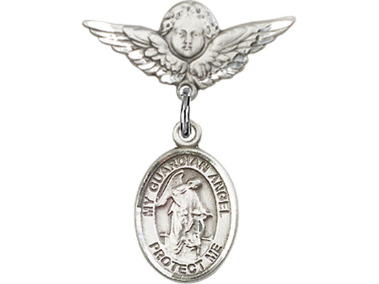 Guardian Angel Sterling Silver Baby Badge Lapel Pin Bliss 9118SS/0735SS
