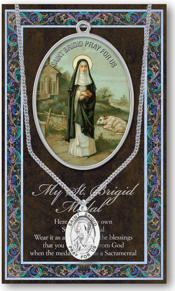 Pewter St. Brigid of Ireland Patron Saint Oval Medal