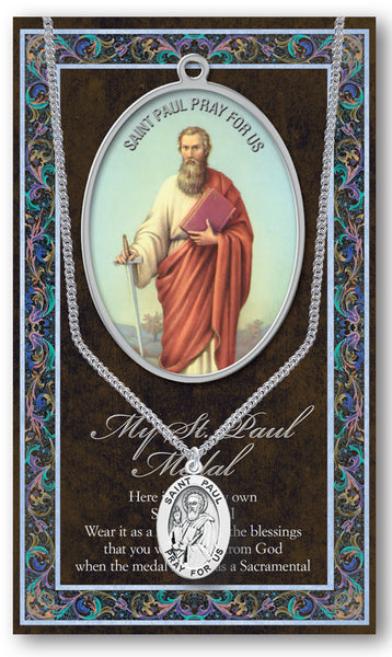 Pewter St. Paul Patron Saint Oval Medal Patron of Writers Publishers