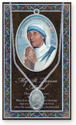 Pewter St. Mother Teresa of Calcutta  Patron Saint Oval Medal