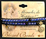 Sapphire Blue Bead & Cord Rosary Bracelet with Our Lady of Fatima Charm Hirten 9601BS