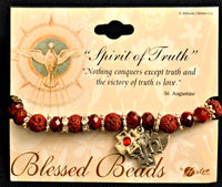 Holy Spirit Red Stretch Bead & Charm Bracelet Hirten 9605RD