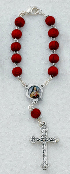 St. Therese Lisieux Centerpiece Red Rose Bead Auto Rosary McVan AR2C