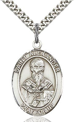Sterling Silver St. Alexander Sauli Patron Oval Medal Pendant Necklace by Bliss