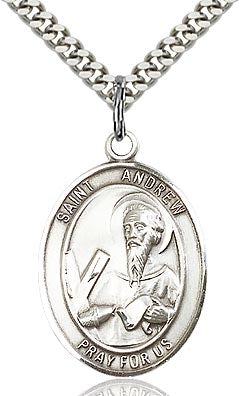 Sterling Silver St. Andrew the Apostle Patron Oval Medal Pendant Necklace by Bliss