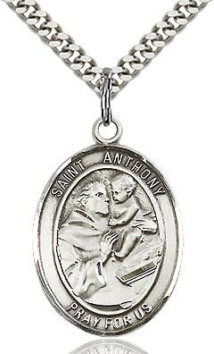 Sterling Silver St. Anthony of Padua Patron Oval Medal Pendant Necklace by Bliss