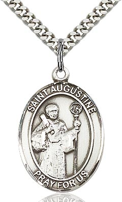 Sterling Silver St. Augustine of Hippo Patron Oval Medal Pendant Necklace by Bliss